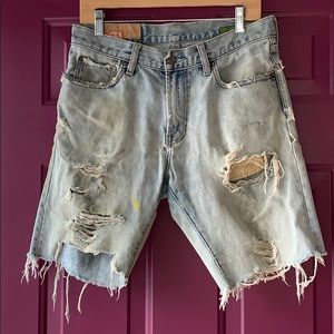 Gap Distressed Worn Denim Jean Long Shorts Size 30